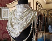 The Pearl Necklace - Silk Collar of Erotic Stories Decorated with Vintage Pearl and Czech Glass drapery  - To Order
