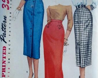 Vintage 1950s Wiggle Skirt Pattern Simplicity 1690 Waist 26
