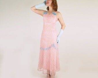 SALE Late 1930s Pink Embroidered Net Formal Dress with Light Blue Ribbon Trim XS