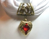 Antique brass scarf bail with red heart and angel wings