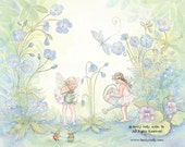 Watering the Garden, 8 X10 Print,  Fairy Art, Print, girls room art, fairy with periwinkle blues, with hand painting, art