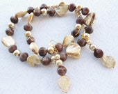 Cocoa Vanilla Necklace Earrings Almond MOP with Pearls