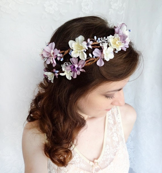 Floral Headpiece For Wedding: Lavender Flower Hair Wreath Purple Wedding Headpiece Bridal
