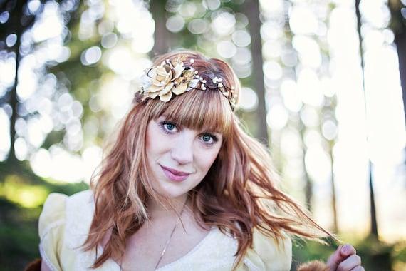 rustic wedding hair accessories, flower crown, cream headpiece, bridal hair wreath - WILDWOOD - woodland flower wreath, bridal crown, boho