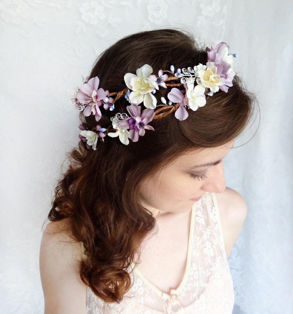 Flower Wedding Headpieces: Lavender Flower Hair Wreath Purple Wedding Headpiece Bridal