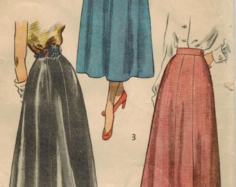1940s Simplicity 2779 Vintage Sewing Pattern Misses' Skirts Size Waist 28