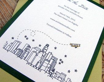 Aero Save the Date Wedding - (100) City Skyline Cards- A2 sized (4.25 x 5.5)