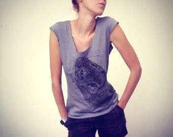 Mouse with tail on the back  tshirt - eco-friendly brown ink screenprint on slate grey cotton scoop neck - womens sizes S, M, L