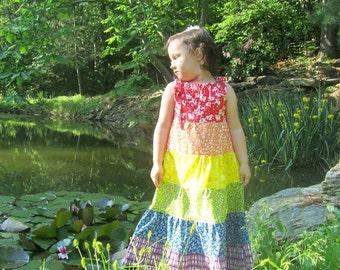 Girl's dress, Rainbow Dress, Maxi Dress, Bohemian dress, God's Promise, flower girl dress, Available in Sizes 12 months through 7/8