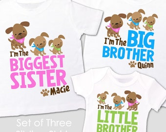 matching sister brother sibling shirts set of three matching doggie / puppy shirts for ANY combination