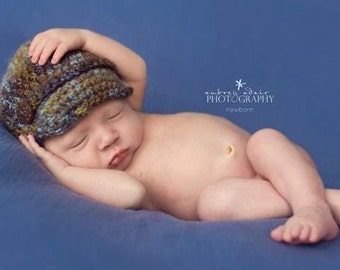 Baby Boy Hat, Newborn Photo Props, Coconut Shell Buttons, Newborn Photography Props, Baby Newsboy Hat, Crochet Baby Hats