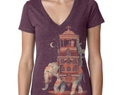 India Elephant T Shirt Womens Purple V Neck Movember Shirt Mustache Moon Shirt  Available S M L XL XXL