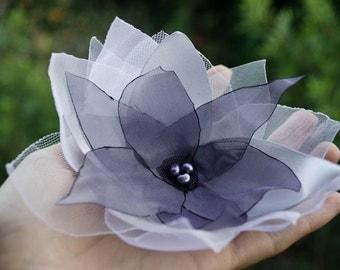 Dramatic Purple Floral Comb - Handmade Lavendar Flower - Bridal - Woodland - Flower Girl - Bridesmaid - Garden Wedding Accessory