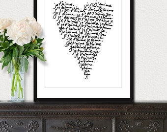 Je T'aime (I Love You) 8x10 inch on A4 - Print (in Classic Black and White) French Quote