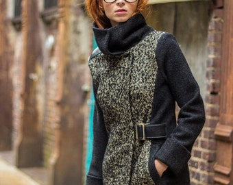 Womens Alpaca coat, Asymmetrical statement coat, two tone coat, tailored warm coat, tall collar coat, Virgin boiled wool coat, winter coat