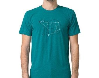Men's Ursa Major, Bear Constellation Shirt, evergreen short sleeve, metallic silver foil print, animal stars space print