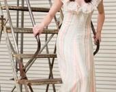 70's Hippie, Boho, CAMELA of CALIFORNIA, pastel striped, V- neck and V-back with empire waist,  long dress, maxi