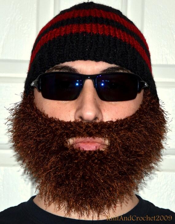 Men Scarf Knitting Patterns : Beard Beanie Knitted Beard Hat Adult Size by KnitAndCrochet2009