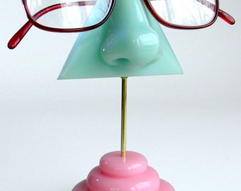 Eyeglass holder,  Mint green nose eyeglass stand, Reading glasses holder, glasses display