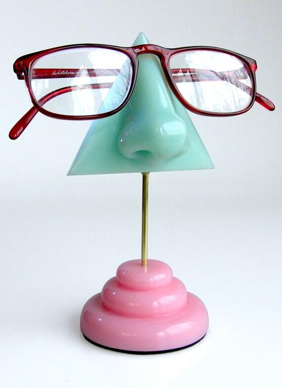 Eyeglass holder,  Mint green nose eyeglass stand, Woman gift, Reading glasses holder