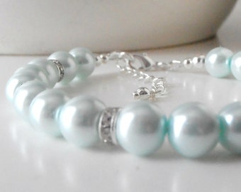 Bridesmaid Jewelry, Pale Blue Pearl Bracelet with Crystal Spacers, Simple Beaded Light Blue Wedding Jewelry Sets, Bridal Party Bracelets