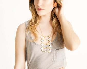 Lace necklace - Zig Zag - Ivory or black lace, with brass