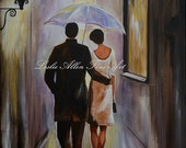 "Couple Romance Romantic Giclee Art Print Urban Art Couples Walking Wall Art Print Rainy Street Stroll Umbrella Rainy ""A Romantic Stroll"""