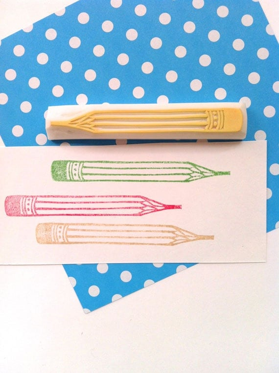 Pencil hand carved rubber stamp teacher s