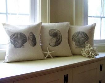 shell pillow cover - set of 3 - antique image - gray - summer pillow - home decor - linen - natural
