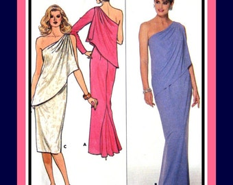 Vintage 1986 -BEVERLY HILLS SOCIALITE Style- Column Evening Gown -Sewing Pattern -Off TheShoulder Drape- Back Godet- Uncut-Size 16- Rare