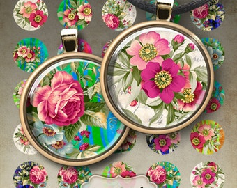 1 inch (25mm) Circle Images BEAUTIFUL FLOWERS Digital Collage Sheet Printable Download for glass and resin pendants, bottle caps, magnets