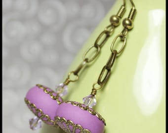Handmade Jewelry Earrings Beaded Lavender Purple Polymer Clay Beads Chain Dangle Antique Brass Filigree Crystal Lightweight...Orchid
