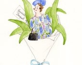 Hyacinth Bouquet Glittery Greetings Card