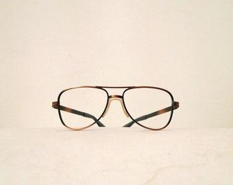 Vintage Never Used Designer Aluminum Aviator Eyeglasses Frame Sunglasses American Hustle Hip Hop Street Pilot Driver Coppertone Metal