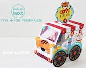 Circus Carnival Truck Van Favor Box Paper Toy - Printable PDF