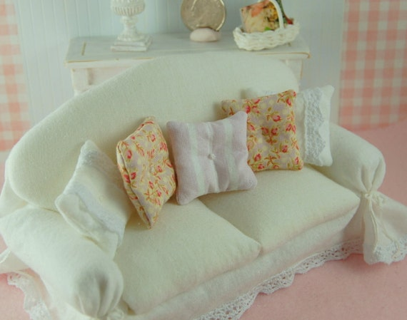 dollhouse shabby chic white slipcover sofa 6 inch. Black Bedroom Furniture Sets. Home Design Ideas
