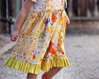 PDF Pattern Back to School Knot Jumper Sundress with Ruffle Panel skirt  Size 12 months to 12 years