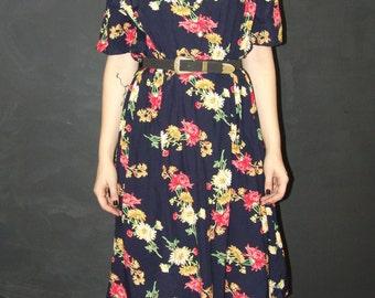Vintage Navy Floral DRESS, Infiniment Belle, 1970s