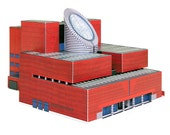 SFMOMA Building    full color architectural paper model    kit with pre-cut details
