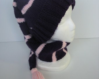 Adult Purple with Pink Stripes Stocking Cap