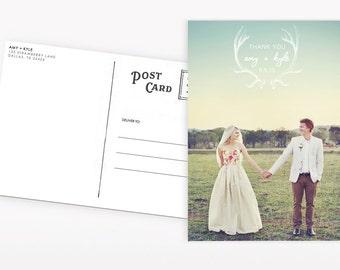 Wedding Thank You Postcards: Antlers