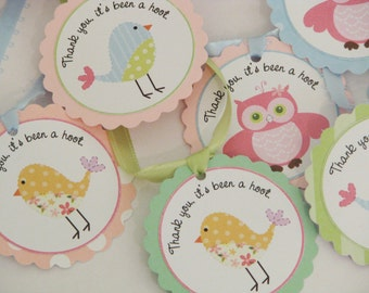 Owl and  Birdy Favor Tags -set of 12