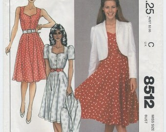 Summer Dress and Short Jacket Sewing McCalls Pattern 8512 Size 12 Bust 34 UNCUT, Fitted Bodice, Sweetheart Neckline, Full Skirt, Sleeveless