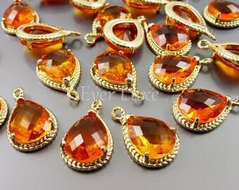 2 Orange glass stone pendants with gold rope rim / charming pendants with gold frame charms 5054G-OR (bright gold, orange, 2 pieces)