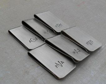 5 Money Clips Custom Initials Men's Moneyclips SET of 5 Wedding Groomsmen Gifts for Groom