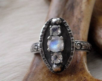 faceted round, moonstone band  ring in oxidized sterling silver