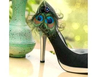 Shoe Clips Iridescent Peacock & Black Bow. Spring Wedding Sophisticated Bride Bridesmaid Bridal Gift Idea, Burlesque Boudoir, Turquoise Aqua