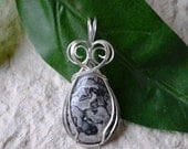 Silver Lace Agate Silver Wire Wrapped Pendant