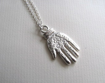Hand pendant necklace, sterling silver plated engraved hand charm on delicate chain