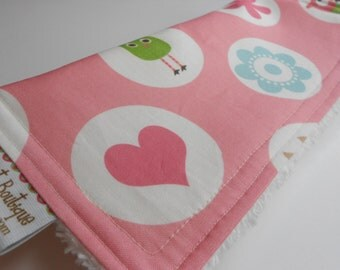 Baby Girl CHENILLE BURP CLOTH  - -  Whimsy Owls Dots